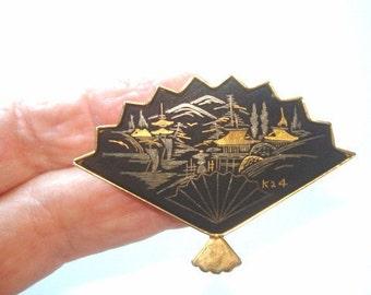 Damascene Gold Jet Black Japan Village Scene Fan Brooch Signed K 24