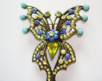 Butterfly Turquoise Blue Stones  Brooch Bronze Tone