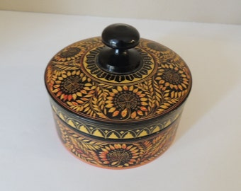 Intricately Carved Light Relief Round Wood Box. Artist Numbered Brown Lidded Wood Box. Delicately Engraved  Trinket Box