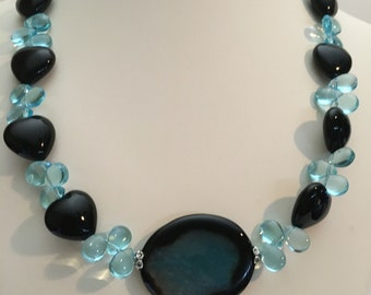 Blue agate necklace. Beach wedding jewelry. Resort jewelry. Aqua necklace. Bridal jewelry. Special Occassion Jewelry. Gift for her. Cruise.