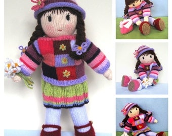 Posy Doll knitting pattern - knitted doll - Pdf INSTANT DOWNLOAD -