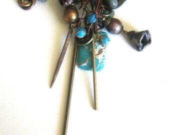 long brass pendants... jasper slice and paper disc amulets necklace