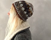 Grey Borwn Gray Crochet Beanie Colorful Winter Hat Beanie for Woman One of a Kind Knit Beanie Womens Skull Cap Beanie Handmade Hat Neutral