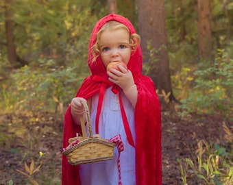 Handmade Red Riding Hood Cape Childrens Costume Child Kids Toddler Halloween Crushed Velvet