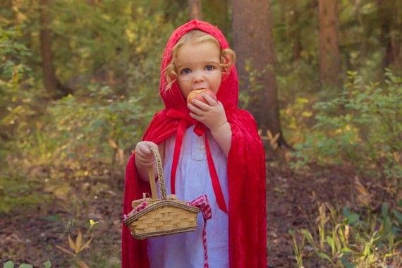Handmade Red Riding Hood Cape Childrens Costume Child Kids Toddler Halloween Crushed Velvet