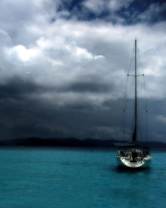 """Sloop Sail Boat Photograph, """"Stormy Sails"""" Fine Art Picture. Dark Moody Turquoise Blue Ocean. 8x10, 11x14, 16x20"""
