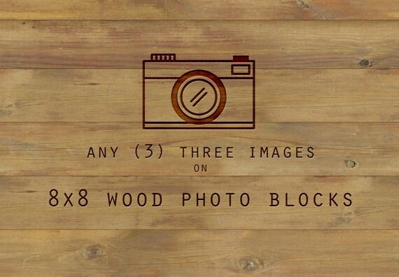 Wood Mounted Art, art on wood, Any three 8x8 inch, print on wood, wood wall art, home decor, ready to hang, wood photo blocks, birch wood