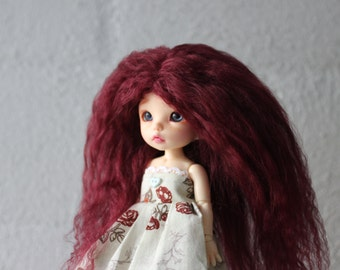 Gorgeous Burgundy mohair wig for Pukifee / Lati Yellow / other small doll