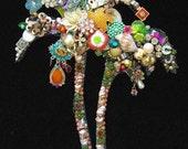 Vintage Jewelry Palm Tree - Jewelry Wall Art - Beach Home Decor - California Dreamin