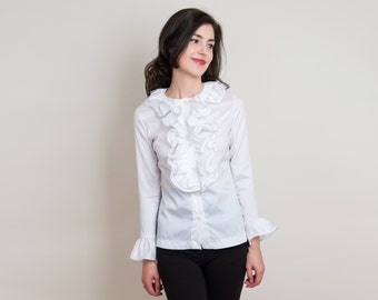 1960s Ruffle Blouse - Vintage 60s White Button Down Shirt with Black Contrast Stitching - S