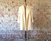 Ivory Swing Coat Vintage 1960s White Wool Winter Coat L