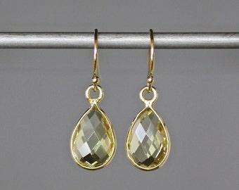 Lemon Quartz Earrings - Yellow Gemstone Earrings - Gold Bezels - Gold Dangles - Petite Earrings - Lemon Quartz Jewelry - Gift for Her