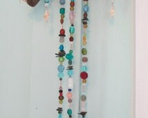 Beaded Sun Catcher ~ Bohemian Style Decor ~ Glass & Seashells on Driftwood