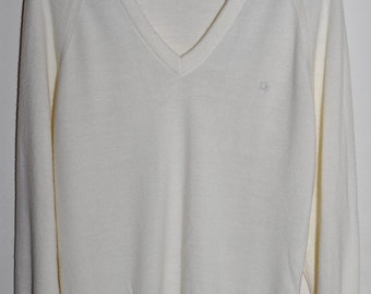 Vintage CHRISTIAN DIOR V Neck Sweater White Soft Orlon Mens Medium M Boyfriend Fit