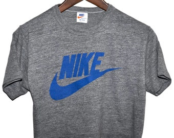 Vintage 80s NIKE Swoosh Rayon Tri Blend Heather Gray Half T SHIRT S M Super Rare