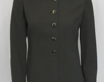 Armani Collezioni Seaweed Green Textured 96% wool blend jacket 44 US M