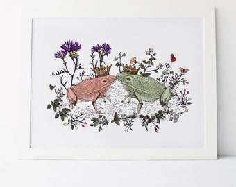 Kissing Frogs Print