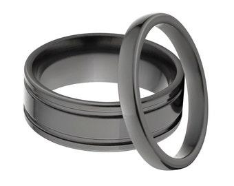 Black Zirconium Matching Ring Set,  His & Her's Ring Set: BZ-7FRE, BZ-3HR