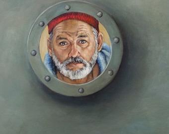 Bill Murray as Steve Zissou - Life Aquatic Portrait Painting Print - Bill Murray Port Hole - Wes Anderson - 5x7 8x10 11x14