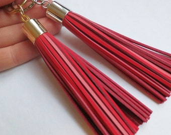 Leather tassel Key Chain,GIFT,Womans Gift,Red Leather Keychain,Tassel Keychain Keyring Red Tassel Keychain,Red Bag accessory,Red Purse Charm