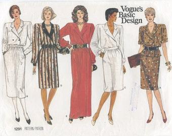 Vogue Wrap Dress, Top & Straight Skirt Sewing Pattern Size 8 10 12 Vogue 1291, UNCUT, Day Dress, Evening Dress