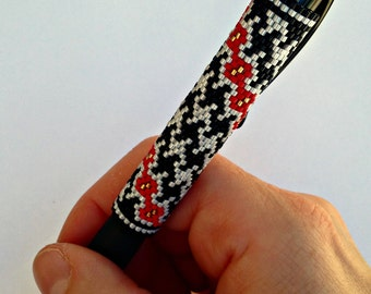 Pen Cover Pattern - Houndstooth - Peyote Pattern