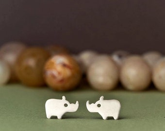 Rhino Stud Earrings in sterling silver Kids Earrings Teen jewelry gift girl Rose gold animal earrings birthday gift earrings kids gift