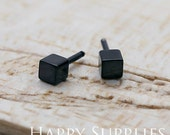 Nickel Free - High Quality Square Dual-used Black Earring Post Finding with Ear Stud Stopper (SS005)
