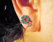 ear cuff earrings - floral- geometric - crystal jacket earrings - ear jacket - cuff earrings - something blue - glowing jewelry - girlfriend