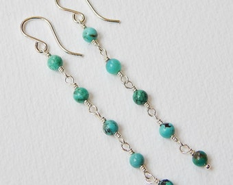 Long Turquoise Earrings - Beaded Earrings Sterling SIlver Earrings Beadwork Earrings Long Dangle Earrings Rosary Earrings
