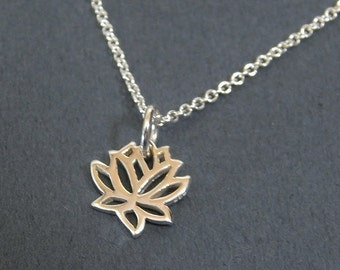 Tiny Lotus Flower Charm Necklace in Sterling Silver Yoga Pendant Necklace