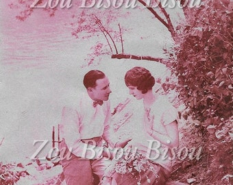 Parisian couple by the river. Romance. 1920s, 20s, Vintage Photo Digital Download. Historical, Glamour, Elegant.