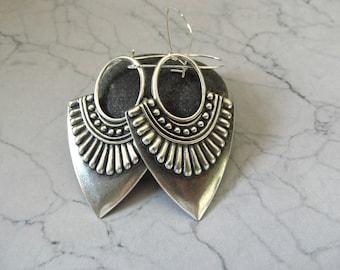 Arjana Earrings - Tribal Style Antique Silver Earrings