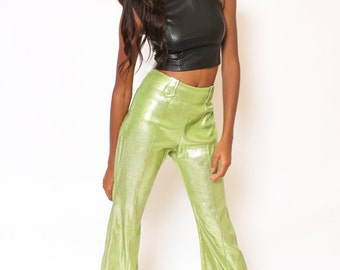 Vtg 60s Fun Bright Green Metallic High Waist Drill Team Dancer Go Go Disco Groovy Western Cowgirl Pants S