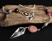 Crystal Quartz Pendulum. Crystal Pendulum. Pink Pendulum. Gemstone Pendulum. Divination Tool. Dowsing Pendulum. Spirituality Tool. New Age.