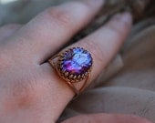 Rose Gold Large Dragons Breath Opal Ring, Fire Opal in Rose Gold, Fire Opal Ring, Dragons Breath Opal, Mexican Fire Opal, Gift for Her