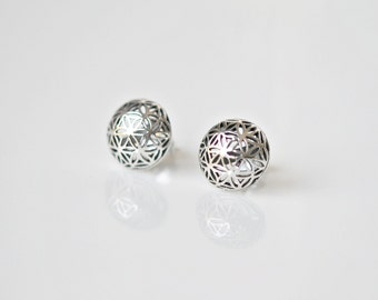 Silver star stud earrings, sterling silver, round domed filigree, flower of life, floral, geometric, simple classic jewelry - Judith