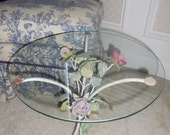Petite Vintage Italian Tole Roses Glass Top Table