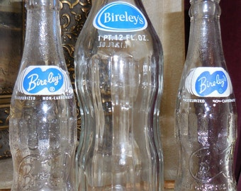 Lot 3 Vintage BIRELEY'S ORANGE Drink Soda Pop Orangeade Beverage Bottles 1 Pint