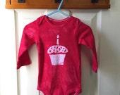 First Birthday Baby Bodysuit (12 months), Baby's First Birthday Shirt, Cupcake Baby Bodysuit, Boys First Birthday, Girls First Birthday