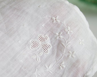 Shamrock Hanky, Embroidered White on White, Bridal Handkerchief, Petite, Something Old, Lucky Hanky, Gift For Bride, Mother Of Bride