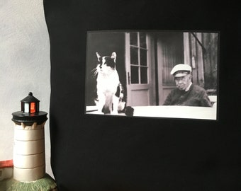 The Old Man and the Sea Cat - Vintage Photo - Black Carryall Tote - Pensive Cat - High Quality Image Transfer on a Canvas Bag - Shopping Bag