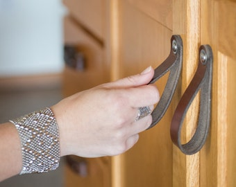 "Leather Drawer Pulls - The ""Hawthorne (Large)"" - Leather Cabinet Door Handles and Drawer Knobs"
