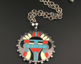 Aztec Warrior Pendant, HMS Pendant, Madeira Creations Necklace, Pre Columbian Style Necklace, Enameled Pendant, Tribal Necklace