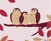 Japanese Tenugui Fabric, Kawaii Owl Pattern, Bird Design, Autumn Leaves, Moon, Hand Dyed Fabric, Wall Art Hanging, Gift Idea, Headband, h223