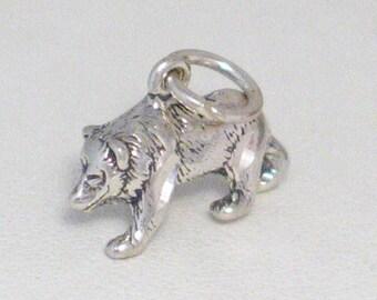 Sterling silver 3-D traditional vintage grizzley black brown bear woodland wildlife animal pet theme bracelet charm / necklace pendant