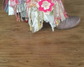 Reserved for VB Boho Gypsy Cowgirl Boot Cuffs Pink Blues Ivory Gold Green Hippie Chic