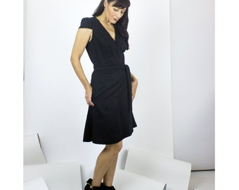 Chantelle Wrap Dress / Little black dress - womens fashion wrap dress