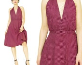 1970s Vintage HALSTON Dress Dark Red Polka Dot Halter Dress Marilyn Monroe Dress Halter Neck Polka Dot Print Backless Dress Designer (XS)