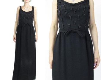 Vintage 1950s 1960s Black Sequin Dress Suzy Perette Sequin Tassels Wiggle Dress Hourglass Fitted Maxi Sleeveless Cocktail Party Dress S E734